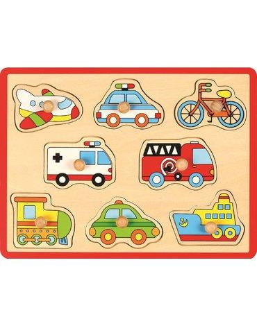 Joueco - Drewniane puzzle- auta