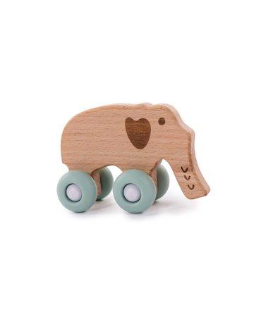 Bo Jungle - B-Drewniany słonik na kółkach Blue
