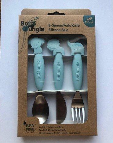 Bo Jungle - B-Zestaw sztućców dla dzieci silkon/Inox blue