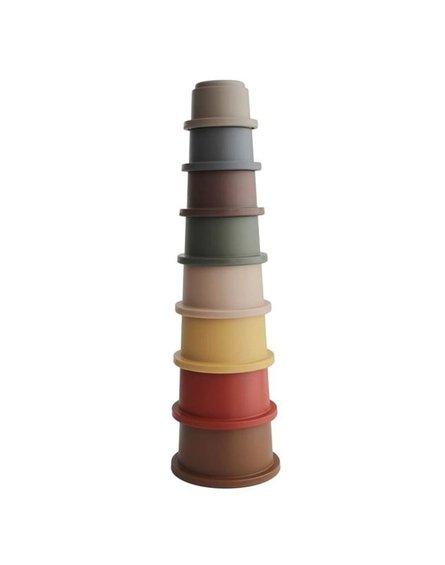 Mushie - Stacking Tower RETRO - wieża z kubeczków