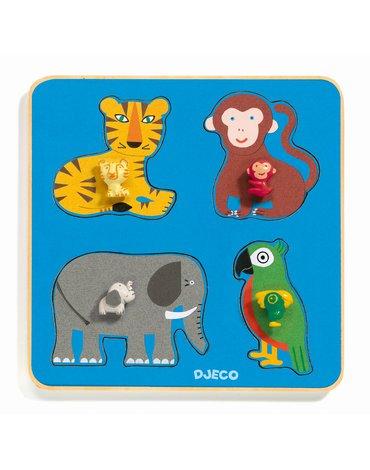 Djeco - Drewniane puzzle RODZINA Z DŻUNGLI DJ01062