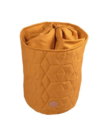 Filibabba Zamykany pojemnik materiałowy na zabawki 42 x 35 x 35 cm Golden Mustard