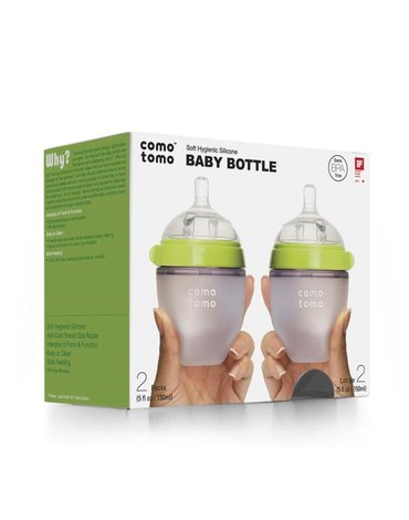 COMOTOMO - 2 antykolkowe butelki silikonowe MOM'S BREAST 150 ml Green NEWBORN 2 pack