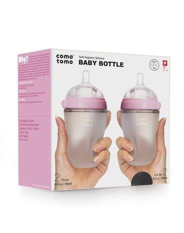 COMOTOMO - 2 antykolkowe butelki silikonowe MOM'S BREAST 250 ml Pink BABY
