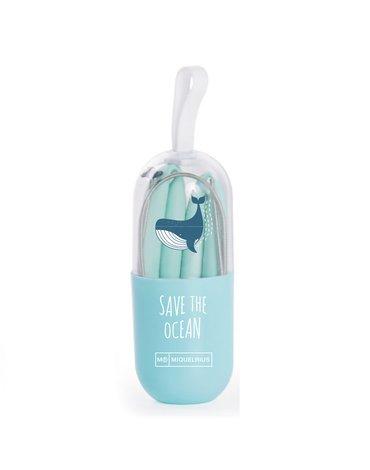 Miquelrius - Słomka silikonowa Save The Ocean - Zielona