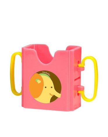 Uchwyt na soczek w kartoniku, Różowy Słoń, innoBaby