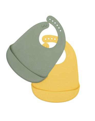 Zestaw śliniaków silikonowych z kieszonką We Might Be Tiny - Sage + Yellow