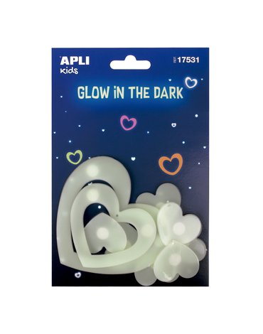 Fluorescencyjne naklejki Apli Kids - Serduszka 9 sztuk