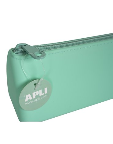 Trójkątny silikonowy piórnik Nordik Collection Apli Kids - Zielony