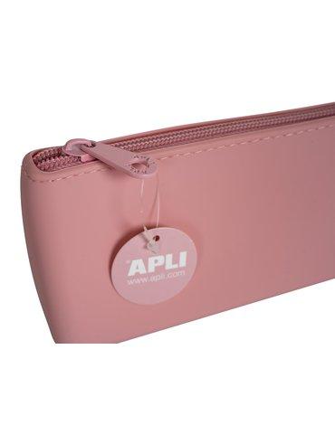 Trójkątny silikonowy piórnik Nordik Collection Apli Kids - Różowy