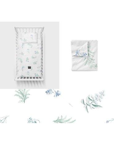 LullaLove, Bawełniana pościel Zielnik niebieski 100x135 cm