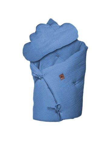 Hi Little One - Kołderka z podusią i Rożek z oddychającej bawełny organicznej GOTS QUILT BABY HORN JEANS