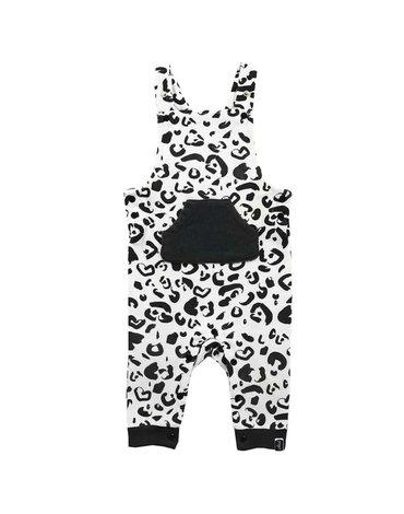 Jollein - Baby & Kids - Jollein - Ogrodniczki rozpinane z BIO bawełny organicznej Leopard BLACK & WHITE 50/56