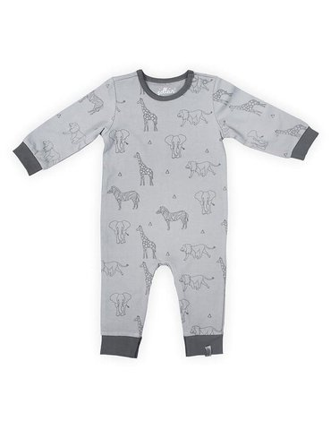 Jollein - Baby & Kids - Jollein - Piżamka rozpinana z BIO bawełny organicznej Safari GREY 50/56
