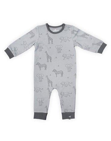 Jollein - Baby & Kids - Jollein - Piżamka rozpinana z BIO bawełny organicznej Safari GREY 62/68