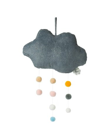 Picca LouLou - Zawieszka mobile Sparkle Cloud GREY with Pompons 34 cm