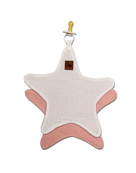 Hi Little One - Przytulanka dou dou z zawieszką z organicznej BIO bawełny GOTS cozy muslin pacifier keeper Star White