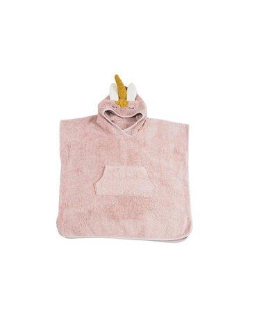 Ponczo kąpielowe dla dziecka Jednorożec, różowy, Kikadu