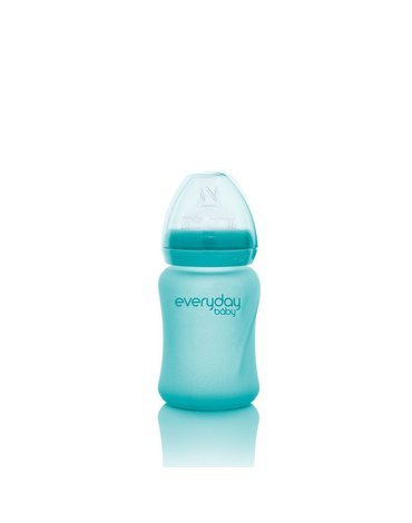 Szklana butelka reagująca na temperaturę 150 ml, turkusowa, Everyday Baby