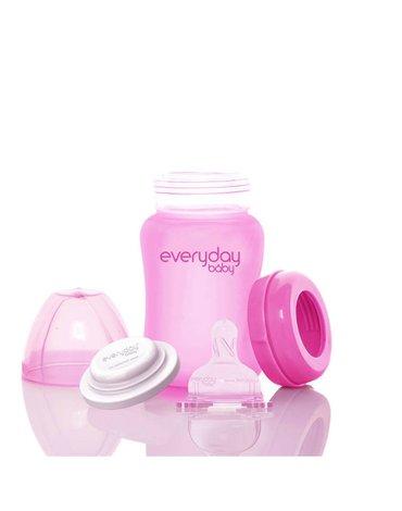 Szklana butelka reagująca na temperaturę 150 ml, wiśniowa, Everyday Baby
