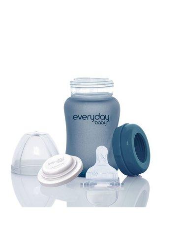 Szklana butelka reagująca na temperaturę 150 ml, borówkowa, Everyday Baby