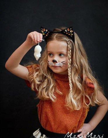 Meri Meri - Opaska do włosów Uszy czarnego kota