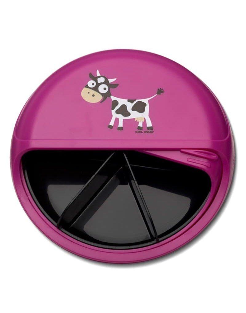 Carl Oscar BIG SnackDISC™ 5 komorowy obrotowy pojemnik na przekąski Purple - Cow CARL OSCAR