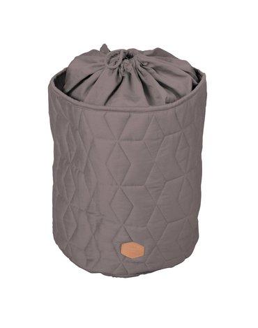 Filibabba Zamykany pojemnik materiałowy na zabawki Pikowany Dark Grey