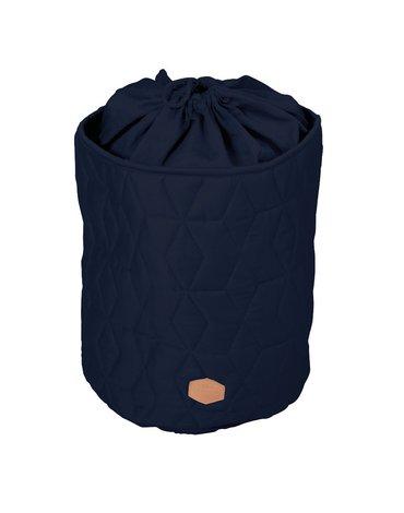 Filibabba Zamykany pojemnik materiałowy na zabawki Pikowany Dark Blue