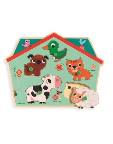 Djeco - Puzzle drewniane z dźwiękiem FARMA