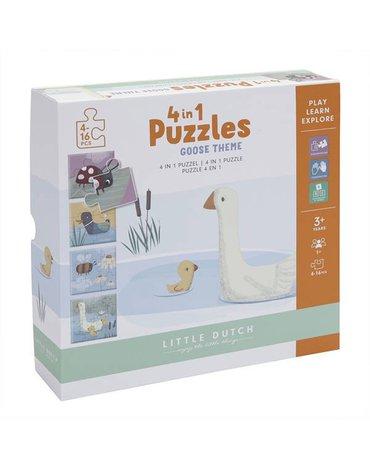Little Dutch Puzzle 4 rodzaje zwierzątek Little Goose LD4754