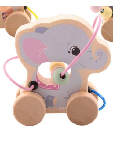 Joueco - Drewniana zabawka na kółkach z przeplatanką SŁONIK