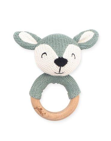 Jollein - Baby & Kids - Jollein - Grzechotka z gryzakiem drewnianym Deer ASH GREEN