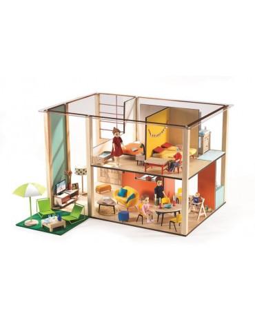 Djeco - Drewniany domek dla lalek CUBIC DJ07801