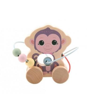Joueco - Drewniana zabawka na kółkach z przeplatanką MAŁPKA