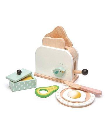 Drewniany toster z zestawem śniadaniowym, Mini Chef, Tender Leaf Toys