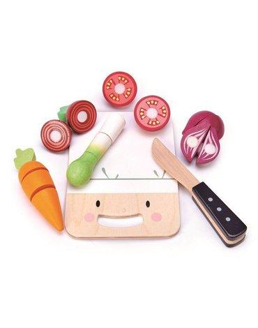 Drewniana deska z warzywami do krojenia, Mini Chef, Tender Leaf Toys