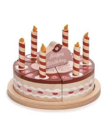 Czekoladowy, drewniany tort urodzinowy, Tender Leaf Toys
