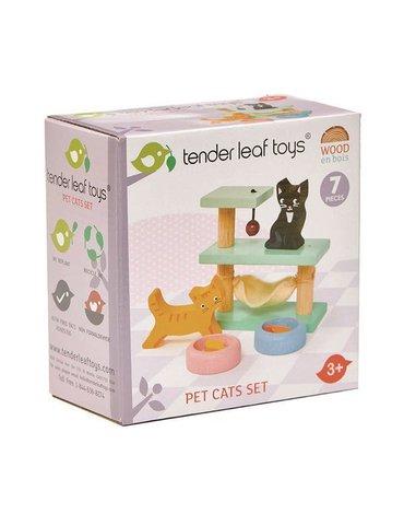 Drewniane figurki do zabawy - kotki, Tender Leaf Toys