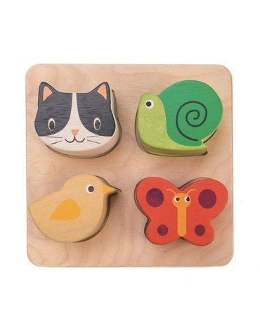 Drewniana zabawka sensoryczna - Zwierzęta - kształty i faktury, Tender Leaf Toys