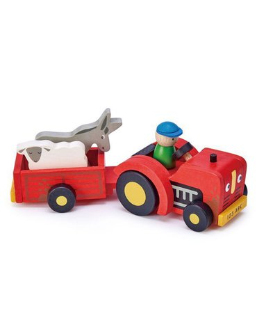Drewniany traktor z przyczepą ze zwierzątkami, Tender Leaf Toys