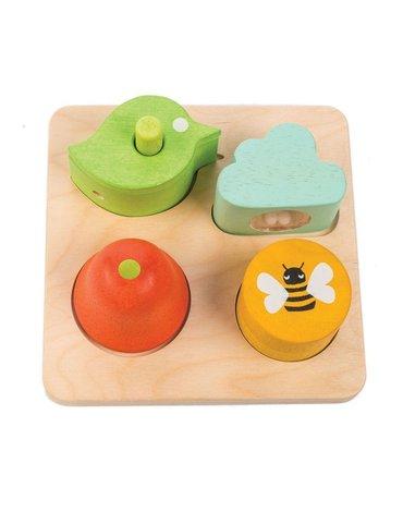 Drewniana zabawka sensoryczna - Ogród - kształty i dźwięki, Tender Leaf Toys