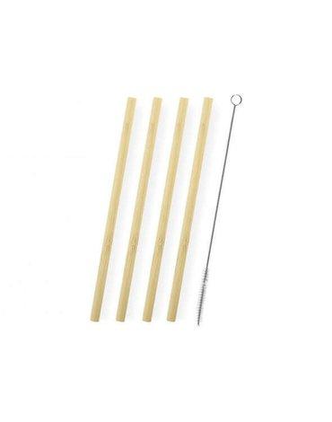 H&H Lifestyle - Słomki Bambusowe + Szczoteczka, 4 szt.