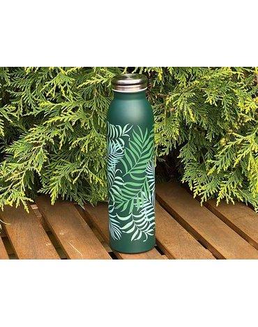 H&H Lifestyle - Butelka Termiczna ze Stali Nierdzewnej, Green Leaves, 0,6l