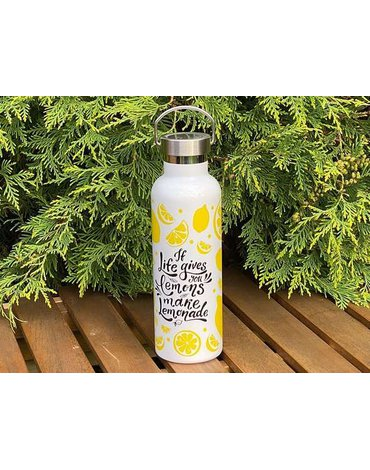 H&H Lifestyle - Butelka Termiczna ze Stali Nierdzewnej, Lemons, 0,75l