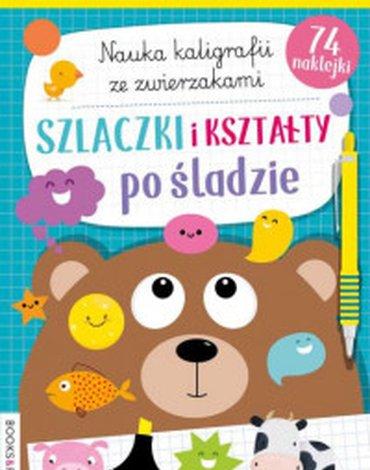 BooksAndFun - Książka Szlaczki, kształty po śladzie. Nauka kaligrafii z pieskami i kotkami