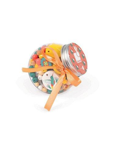 Janod - Zestaw do tworzenia biżuterii Drewniane koraliki z elementami fluorescencyjnymi Kolibry
