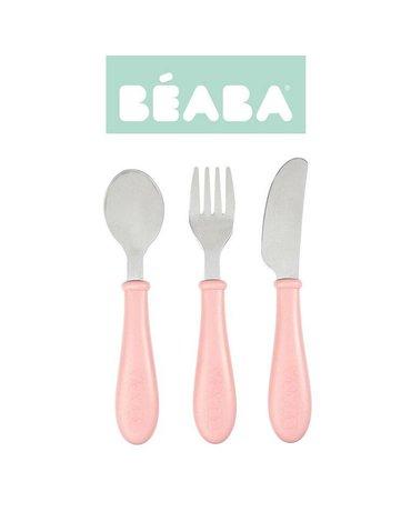 BEABA - Sztućce ze stali nierdzewnej 12 m+ Old Pink