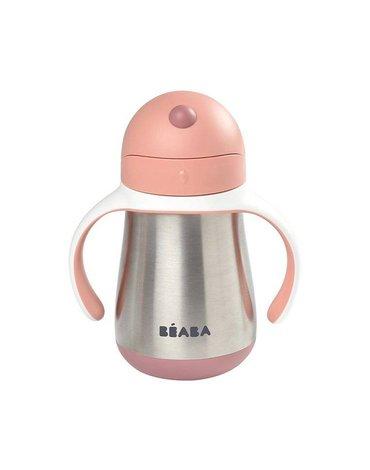 Beaba - Butelka - kubek niekapek stalowa ze słomką 250 ml old pink