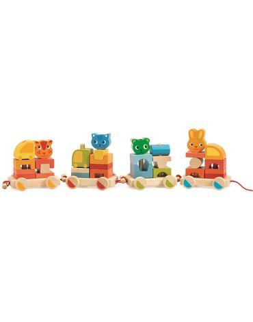 Djeco - Zabawka drewniany pociąg Crearoule DJ06315
